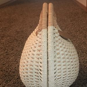 Bags - Vintage Woven Cotten & Wicker Purse